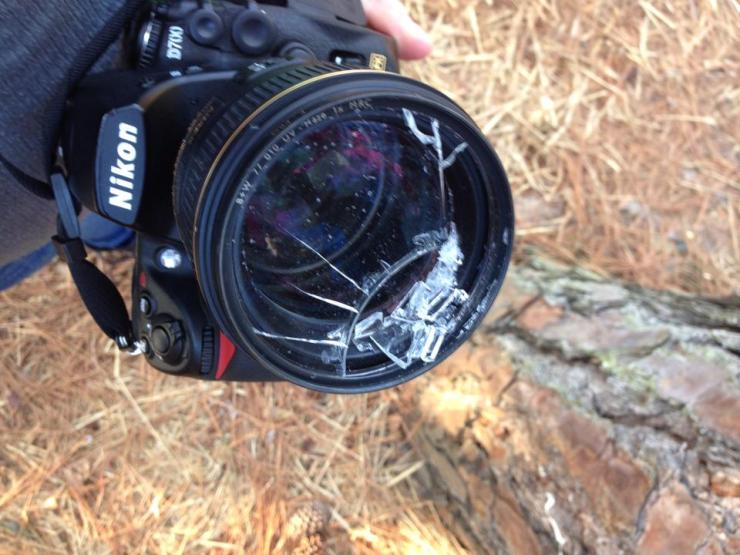 Why you should always have a UV filter on your camera, I had the lens cap on and the neck strap on and around my neck. If I had not had this UV filter this lenses would be toast! And let me tell you $98 for a UV filter or $2000 for a lens...